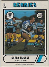 1976 SCANLENS RUGBY LEAGUE CARD #22: GARRY HUGHES - CANTERBURY BERRIES BULLDOGS