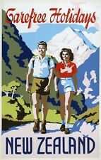 TX320 Vintage 1930's Carefree Holidays New Zealand Travel Poster A1/A2/A3/A4