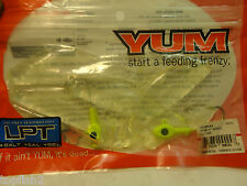 """Yum 4"""" Shad, Clear, #YUMS44, 5 Count + 2 Jigs (New/Old Stock)"""