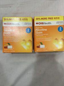 CVS Health Nicotine Gum Coated Fruit Flavor 2mg 120 pieces EXP 06/17 ( 2 Boxes)
