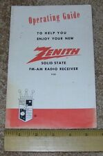 ZENITH Operating Guide for Solid State AM FM Radio Receiver Model F425