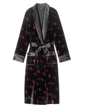Victorias Secret Soft Velvet Luxe Pocket Robe Black Floral Print