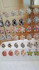 JOBLOT de 18 Pares Mezclados Diseño Pendientes Con Diamante-Nuevo Lote Mayorista F