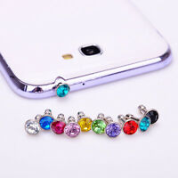 10 Crystal Rhinestone Earphone Jack Dust Plug Cover Stopper Cap Cell Phone 3.5mm