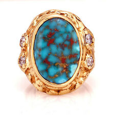 Unique 14kt yellow gold natural Royston turquoise diamond heavy men's ring new