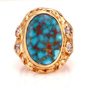 Unique 14kt yellow gold Royston turquoise diamond mens ring Size 12