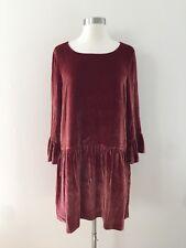 New Madewell Velvet Bell-sleeve Dress Sangria Red  Sz M G8345