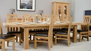 Alaska large grand extending dining table & 10 chairs set solid oak furniture