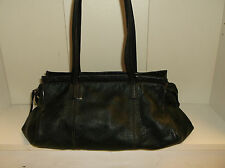 J Jill Black Pebbled Leather Large Double Strap Shoulder Bag