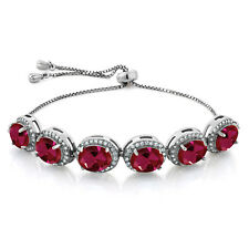 13.58 Ct Oval Red Created Ruby 925 Sterling Silver Adjustable Bracelet