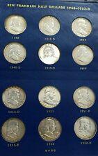 1948-1963~35 COIN COMPLETE SILVER FRANKLIN HALF DOLLAR SET~WHITMAN ALBUM