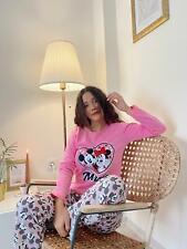 Damen Pyjama Mickey Mause Schlafanzug Pyjama-Set, S M L XL 100 % Baumwolle