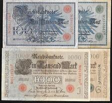 Allemagne - Kit / 4 Différentes 100 & 1000 Mark Billets - 1908 & 1910 - Fin À VF