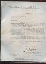 Original 1942 three Rivers Baseball Club Hank Biasatti Letter