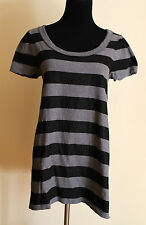 $98 Juicy Couture Size L Metallic Black and Gray Stripe Tee