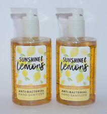 2 BATH & BODY WORKS SUNSHINE & LEMONS ANTI BACTERIAL HAND SANITIZER GEL 7.6 OZ