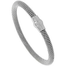 Stainless Steel Mesh Magnetic Clasp Flexible Bracelet, Rhodium Plated