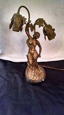 """Antique Art Nouveau Spelter Figural Woman Leafs Dual Socket Lamp 16"""""""