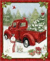 Quilt Kit Christmas Fun by Springs Creative Red Farm Truck Panel with Backing