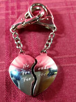 BFF Heart Key Chain Set 2-Piece Matching Best Friends Forever Script Silver Tone