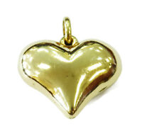 14K Yellow Gold Puffed Heart Charm Necklace Pendant ~ 2.1g