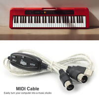 Pro USB IN-OUT MIDI Adapter Cable PC to Music Electronic Keyboard Converter