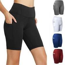 Women High Waist Active Running Yoga Shorts Ladies Summer Pants Gym Leggigns C80