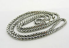 "Real 14k White Gold WHEAT Style FANCY Style Chain necklace 11.8 gr 26"" long"