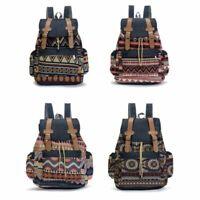 Vintage Men Women Canvas Backpack Hasp Drawstring Closure Bohemian Rucksack Bag