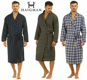 Mens Dressing Gowns Brushed 100 % pure Cotton  rich gents Summer Lightweight