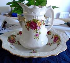 Antique Carafe & bol OLD Foley-chinois roses joli ensemble Nice Display RARE!