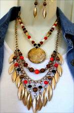 South West Gold Tribal Genuine Stone Pendant Red-Brn-Black Beads Necklace Set