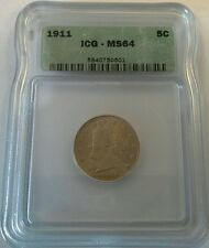 1911 P Liberty Head V Nickel 5 Cents ICG Mint State 64