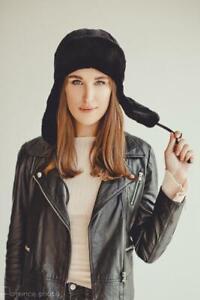 Beaver Fur Hat with Ear Flaps Ushanka Russian Women (Blue, Brown,Black, ...)