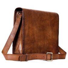"""15"""" New Genuine Vintage Leather Messenger Bag Shoulder Laptop Bag Full Flap"""