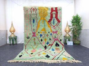 """Moroccan Boujaad Handmade Rug 5'x8'4"""" Berber Abstract Faded Green Pink Wool Rug"""