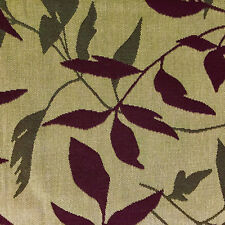 """Olive Green Brown Leaves Botanical Home Decorating Fabric Linen Canvas 32"""" x 54"""""""