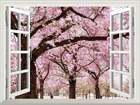 "Wall Mural - Cherry Blossom View out of the Open Window Wall Decor - 36""x48"""