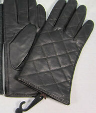 Leather Gloves Size Medium M Dark Brown All Acrylic Beige Lining Driving NWT