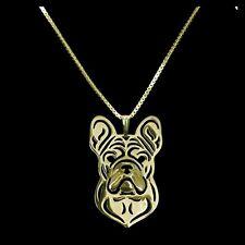 Halskette mit Hunde Kopf Anhänger. Französische Bulldogge. Gold. Hund Schmuck