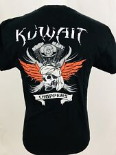Kuwait Choppers Mens T Shirt Sz Medium Black S/S Motorcycles Skull Gilden 1A