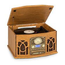 Auna NR-620 Impianto Stereo DAB con Giradischi, Lettore CD, Registratore Cassette, Radio - Marrone