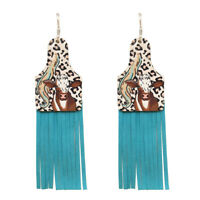 COUNTRY GIRL COW COWGIRL WESTERN EARRINGS FUN RODEO CHRISTMAS LEATHER TURQUOISE