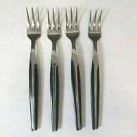 Lot of 4 Vintage Eldan Black Cocktail Forks Stainless Steel Japan