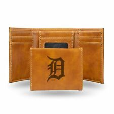 Detroit Tigers MLB Laser Engraved Brown Synthetic Leather Trifold Wallet