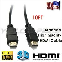 HDMI v1.4 Cable 1080p 3D for DVD Player HDTV xBox 10Feet Gold Series High Speed