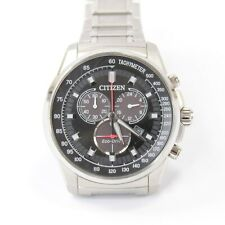 Mens Citizen Eco Drive wrist watch date chronograph H500 stainless steel