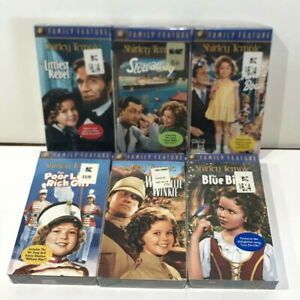 Lot of 6x NEW Shirley Temple VHS Tapes ( Stowaway, Little Rebel, BlueBird, etc.)