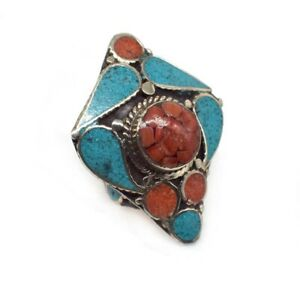Unique Turquoise Red Coral Gemstone Tibetan Fashion Jewelry Ring US 9 C059