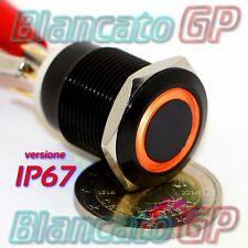 PULSANTE MONOSTABILE 19mm IMPERMEABILE IP67 STAGNO LED ARANCIO 12V DC CORPO NERO